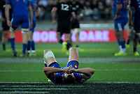 France's Geoffrey Doumayrou goes down injured during the Steinlager Series international rugby match between the New Zealand All Blacks and France at Westpac Stadium in Wellington, New Zealand on Saturday, 16 June 2018. Photo: Dave Lintott / lintottphoto.co.nz