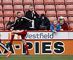 Fans look on as Matt Done of Sheffield Utd warms up during the Sky Bet League One match at The Bramall Lane Stadium.  Photo credit should read: Simon Bellis/Sportimage