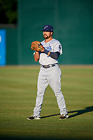 Pensacola Blue Wahoos shortstop Alex Blandino (5) warms up before a game against the Mobile BayBears on April 25, 2017 at Hank Aaron Stadium in Mobile, Alabama.  Mobile defeated Pensacola 3-0.  (Mike Janes/Four Seam Images)