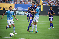 BRONX, NY - Sunday July 26, 2015: New York City FC defeats Orlando City SC 5-3 at home at Yankee Stadium during the 2015 MLS regular season.