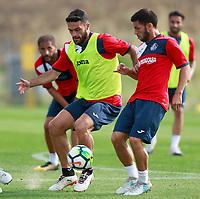 Getafe CF's Jorge Molina (l) and Dani Pacheco during training session. August 1,2017.(ALTERPHOTOS/Acero) /NortePhoto.com