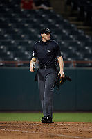 Umpire Mike Snover during an Eastern League game between the Richmond Flying Squirrels and Bowie Baysox on August 15, 2019 at Prince George's Stadium in Bowie, Maryland.  Bowie defeated Richmond 4-3.  (Mike Janes/Four Seam Images)