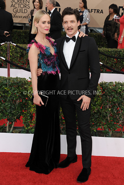 WWW.ACEPIXS.COM<br /> <br /> January 30 2016, LA<br /> <br /> Sarah Paulson and Pedro Pascal arriving at the 22nd Annual Screen Actors Guild Awards at the Shrine Auditorium on January 30, 2016 in Los Angeles, California<br /> <br /> By Line: Peter West/ACE Pictures<br /> <br /> <br /> ACE Pictures, Inc.<br /> tel: 646 769 0430<br /> Email: info@acepixs.com<br /> www.acepixs.com