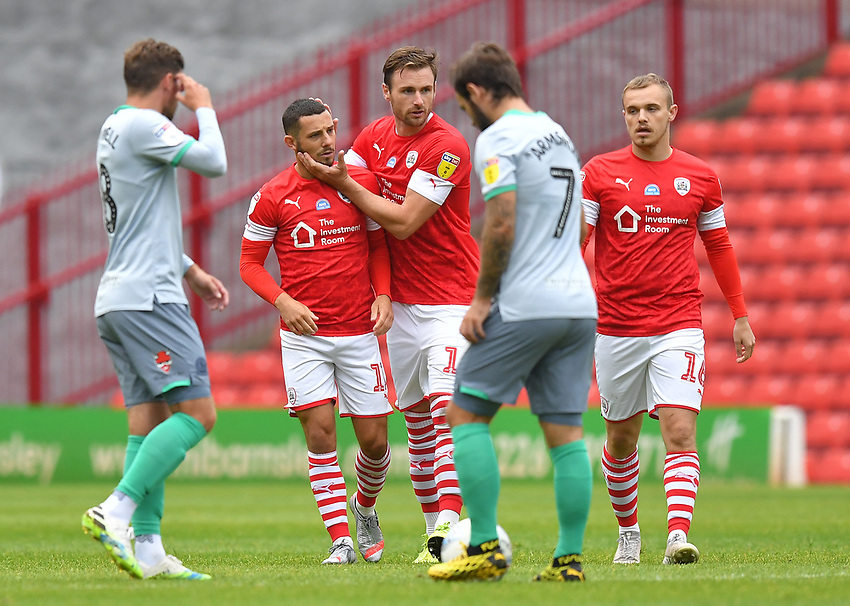 Barnsley's Conor Chaplin is congratulated on scoring his team's opening goal<br /> <br /> Photographer Dave Howarth/CameraSport<br /> <br /> The EFL Sky Bet Championship - Barnsley v Blackburn Rovers - Tuesday 30th June 2020 - Oakwell - Barnsley<br /> <br /> World Copyright © 2020 CameraSport. All rights reserved. 43 Linden Ave. Countesthorpe. Leicester. England. LE8 5PG - Tel: +44 (0) 116 277 4147 - admin@camerasport.com - www.camerasport.com