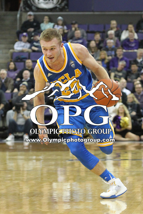 JAN 1, 2016:  UCLA's #20 Bryce Alford brings the ball down court against Washington.  Washington defeated #25 ranked UCLA 96-93 in double overtime at Alaska Airlines Arena in Seattle, WA.