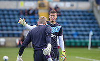 Goalkeeper Benjamin Siegrist (Loanee from Aston Villa) of Wycombe Wanderers during the Sky Bet League 2 match between Wycombe Wanderers and Mansfield Town at Adams Park, High Wycombe, England on 25 March 2016. Photo by Andy Rowland.