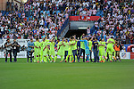 FC Barcelona´s players celebrate their victory and the national league championship during 2014-15 La Liga match between Atletico de Madrid and FC Barcelona at Vicente Calderon stadium in Madrid, Spain. May 17, 2015. (ALTERPHOTOS/Luis Fernandez)