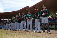 Farmingdale Rams players, including Brian Brenton (21), Michael Ciullo (19), Joshua Ockimey (8), and catcher Kenneth Johntry (18), stand for the national anthem before a game against the Union Dutchmen on February 21, 2016 at Chain of Lakes Stadium in Winter Haven, Florida.  Farmingdale defeated Union 17-5.  (Mike Janes/Four Seam Images)