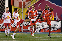 New York Red Bulls midfielder Jorge Rojas (13) and Toronto FC defender Marvell Wynne (16). Toronto FC defeated the New York Red Bulls 3-1 during a Major League Soccer match at Giants Stadium in East Rutherford, NJ, on October 04, 2008. Photo by Howard C. Smith/isiphotos.com
