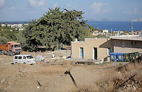 Pictured: Builders rebuilding the extension of the farmhouse where Ben Needham disappeared from in Kos, Greece. Thursday 13 October 2016<br />