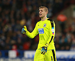 Jonas Lossl of Huddersfield Town  during the premier league match at the John Smith's Stadium, Huddersfield. Picture date 12th December 2017. Picture credit should read: Simon Bellis/Sportimage