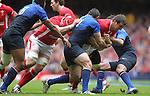 Captain Sam Warburton drives Wales forward..RBS 6 Nations 2012.Wales v France.Millennium Stadium.17.03.12..CREDIT: STEVE POPE-SPORTINGWALES