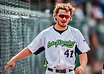 3 September 2018: Vermont Lake Monsters infielder Jeremy Eierman walks down the foul line during a game against the Tri-City ValleyCats at Centennial Field in Burlington, Vermont. The Lake Monsters defeated the ValleyCats 9-6 in the last game of the 2018 NY Penn League regular season. Mandatory Credit: Ed Wolfstein Photo *** RAW (NEF) Image File Available ***