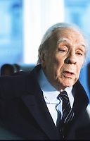 Milan, Italy 1985. Jorge Luis Borges, Argentine writer and poet born in Buenos Aires. One of the most influent writers of the XX Century. Famous for his fantastic tales, where he conjugates philosophical and metaphysical ideas with the classical themes of fantastic (double, parallel reality of dream, temporal sliding).