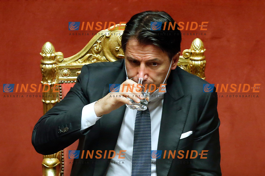 The Italian Prime Minister Giuseppe Conte drinking water during the information about Covid-19 emergency at the Senate.<br /> Rome (Italy), July 28th 2020<br /> Photo Samantha Zucchi Insidefoto