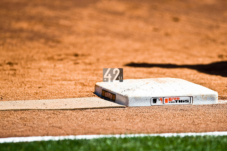 13 April 2008: Close view of a base during the San Francisco Giants 7-4 victory over the St. Louis Cardinals at the AT&T Park in San Francisco, CA.
