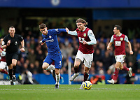 11th January 2020; Stamford Bridge, London, England; English Premier League Football, Chelsea versus Burnley; Jorginho of Chelsea challenges Jeff Hendrick of Burnley - Strictly Editorial Use Only. No use with unauthorized audio, video, data, fixture lists, club/league logos or 'live' services. Online in-match use limited to 120 images, no video emulation. No use in betting, games or single club/league/player publications