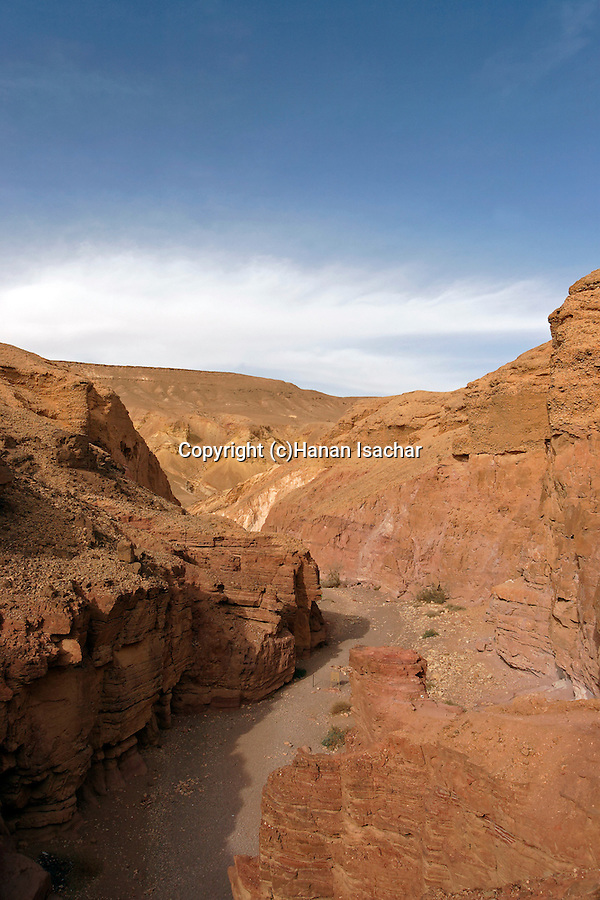 Israel, the Negev desert. The Red Canyon in Wadi Shani