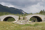 WILDLIFE OVERPASS ON HIGHWAY #1 IN ALBERTA, CANADA.<br /> WILDLIFE CROSSING