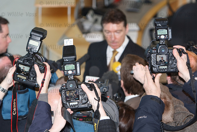 SFA Chief Executive Gordon Smith makes a statement to the media about the Boozegate affair at Hampden today