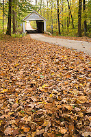 The Zache Cox Covered Bridge in the fall; Parke County, IN