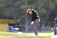Miguel Angel Jimenez (ESP) plays his 2nd shot on the 17th hole during Thursday's Round 1 of the 2017 Omega European Masters held at Golf Club Crans-Sur-Sierre, Crans Montana, Switzerland. 7th September 2017.<br /> Picture: Eoin Clarke | Golffile<br /> <br /> <br /> All photos usage must carry mandatory copyright credit (&copy; Golffile | Eoin Clarke)