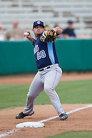 Corpus Christi Hooks third baseman Tyler White (20) makes a throw to first base during the Texas League baseball game against the San Antonio Missions on May 10, 2015 at Nelson Wolff Stadium in San Antonio, Texas. The Missions defeated the Hooks 6-5. (Andrew Woolley/Four Seam Images)