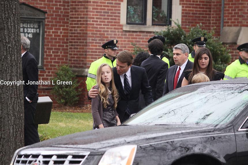 Elizabeth Edwards Funeral Service At Edenton Street United Methodist Church Raleigh North Carolina USA<br /> John Edwards,Emma Claire,Jack & Cate