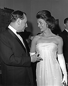 First lady Jacqueline Bouvier Kennedy, left and André Malraux, Minister of Cultural Affairs for France, right, at the opening of the Mona Lisa exhibit at the National Gallery of Art in Washington, DC on January 8, 1963.<br /> Credit: Arnie Sachs / CNP