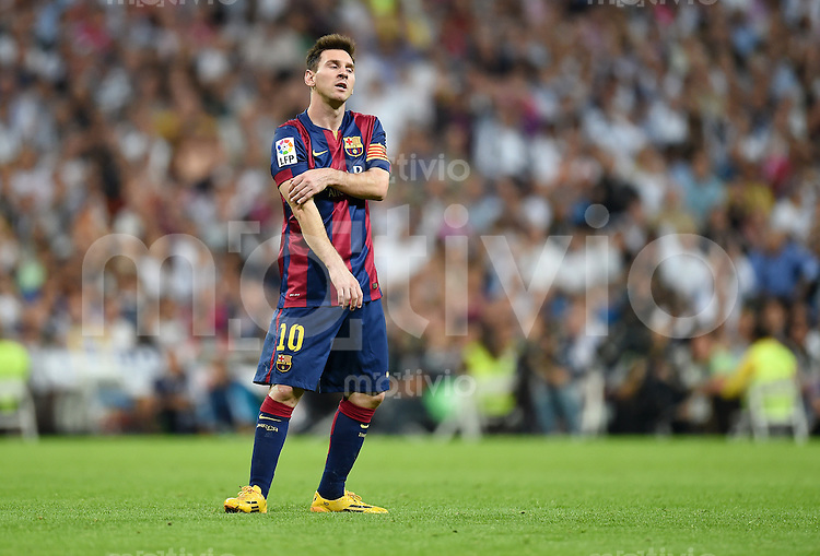 FUSSBALL  INTERNATIONAL  PRIMERA DIVISION  SAISON 2014/2015    9. Spieltag   El Clasico   Real Madrid  - FC Barcelona        25.10.2014 Enttaeuschung Lionel Messi (Barca)