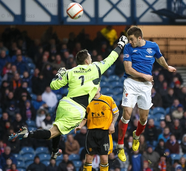 Andy Little gets a punch in the face from Annan keeper Alex Mitchell as he heads over the bar