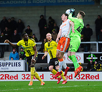 Burton Albion's Bradley Collins is fouled by Blackpool's Ben Heneghan<br /> <br /> Photographer Chris Vaughan/CameraSport<br /> <br /> The EFL Sky Bet League One - Burton Albion v Blackpool - Saturday 16th March 2019 - Pirelli Stadium - Burton upon Trent<br /> <br /> World Copyright &copy; 2019 CameraSport. All rights reserved. 43 Linden Ave. Countesthorpe. Leicester. England. LE8 5PG - Tel: +44 (0) 116 277 4147 - admin@camerasport.com - www.camerasport.com