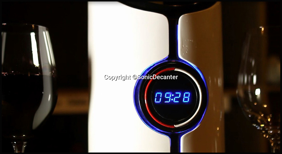 BNPS.co.uk (01202 558833)<br /> Pic: SonicDecanter/BNPS<br /> <br /> *Please use full byline*<br /> <br /> The decanter's countdown clock.<br /> <br /> This futuristic decanter is sending waves through the wine world - because it promises to transform cheap plonk into a much better and more expensive drink in a matter of minutes.<br /> <br /> The Sonic Decanter uses ultrasound to 'age' bargain bottles by altering the compounds in the wine to make it more drinkable.<br /> <br /> Its makers say the high frequency sound waves improve flavour by breaking down preservatives, softening tannins and releasing aromas not normally found in young wine.<br /> <br /> The launch of the Sonic Decanter is planned for June next year and it will cost buyers $249 - around &pound;150.