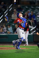 Buffalo Bisons catcher Danny Jansen (41) makes a play on a foul ball popup in the bottom of the eleventh inning during a game against the Rochester Red Wings on August 25, 2017 at Frontier Field in Rochester, New York.  Buffalo defeated Rochester 2-1 in eleven innings.  (Mike Janes/Four Seam Images)