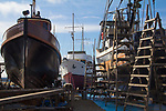 Port Townsend, Boat Haven, classic yachts, wooden, fishing boats, on the hard for repairs, Port of Port Townsend, Jefferson County, Olympic Peninsula, Puget Sound, Washington State, Pacific Northwest, USA,