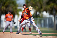 Baltimore Orioles starting pitcher Trey Haley (23) delivers a pitch during a minor league Spring Training game against the Boston Red Sox on March 16, 2017 at the Buck O'Neil Baseball Complex in Sarasota, Florida.  (Mike Janes/Four Seam Images)
