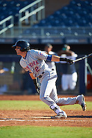 Scottsdale Scorpions Gavin Cecchini (2), of the New York Mets organization, during a game against the Peoria Javelinas on October 22, 2016 at Peoria Stadium in Peoria, Arizona.  Peoria defeated Scottsdale 3-2.  (Mike Janes/Four Seam Images)