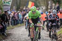 Sep Vanmarcke (BEL/Cannondale-Drapac) up the Molenberg<br /> <br /> 72nd Omloop Het Nieuwsblad 2017