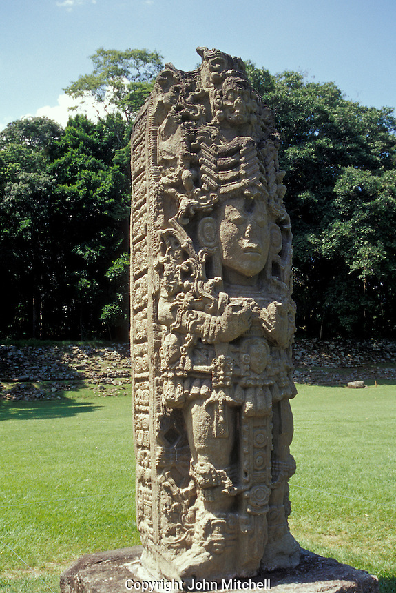 Stela H at the Maya ruins of Copan, Honduras