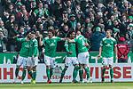 13.04.2019, Weserstadion, Bremen, GER, 1.FBL, Werder Bremen vs SC Freiburg<br /> <br /> DFL REGULATIONS PROHIBIT ANY USE OF PHOTOGRAPHS AS IMAGE SEQUENCES AND/OR QUASI-VIDEO.<br /> <br /> im Bild / picture shows<br /> Jubel 2:0, Theodor Gebre Selassie (Werder Bremen #23) bejubelt seinen Treffer zum 2:0 mit Teamkollegen, Nuri Sahin (Werder Bremen #17), Milot Rashica (Werder Bremen #11), Milos Veljkovic (Werder Bremen #13), Claudio Pizarro (Werder Bremen #04), Ludwig Augustinsson (Werder Bremen #05), <br /> <br /> Foto &copy; nordphoto / Ewert