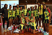24.02.2018 Jamaica celebrate during the Silver Ferns v Jamaica Taini Jamison Trophy netball match at the North Shore Events Centre in Auckland. Mandatory Photo Credit ©Michael Bradley.