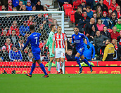 4th November 2017, bet365 Stadium, Stoke-on-Trent, England; EPL Premier League football, Stoke City versus Leicester City; Riyad Mahrez of Leicester City celebrates scoring the second goal for Leicester in the 60th minute making it 2-1 to Leicester