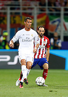 Calcio, finale di Champions League: Real Madrid vs Atletico Madrid. Stadio San Siro, Milano, 28 maggio 2016.<br /> Real Madrid&rsquo;s Cristiano Ronaldo, left, is chased by Atletico Madrid Juanfran during the Champions League final match between Real Madrid and Atletico Madrid, at Milan's San Siro stadium, 28 May 2016.<br /> UPDATE IMAGES PRESS/Isabella Bonotto