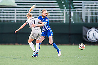 Boston, MA - Sunday May 07, 2017: Mccall Zerboni and Julie King during a regular season National Women's Soccer League (NWSL) match between the Boston Breakers and the North Carolina Courage at Jordan Field.