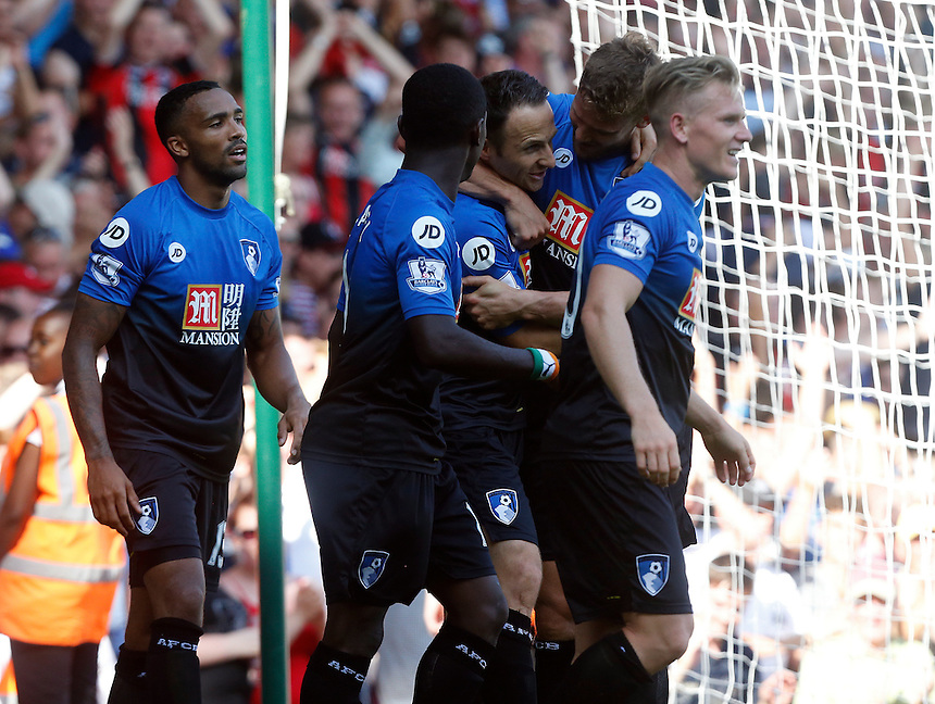 Bournemouth's Artur BorucBournemouth's Marc Pugh celebrates scoring his sides third goal <br /> <br /> Photographer Kieran Galvin/CameraSport<br /> <br /> Football - Barclays Premiership - West Ham United v Bournemouth - Saturday 22nd August 2015 - Boleyn Ground - London<br /> <br /> <br /> &copy; CameraSport - 43 Linden Ave. Countesthorpe. Leicester. England. LE8 5PG - Tel: +44 (0) 116 277 4147 - admin@camerasport.com - www.camerasport.com