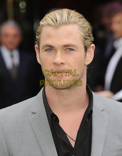 Chris Hemsworth .The World Premiere of 'Snow White And The Huntsman', Empire Leicester Square, London, England..14th May 2012.headshot portrait shirt grey gray black    .CAP/BEL.©Tom Belcher/Capital Pictures.