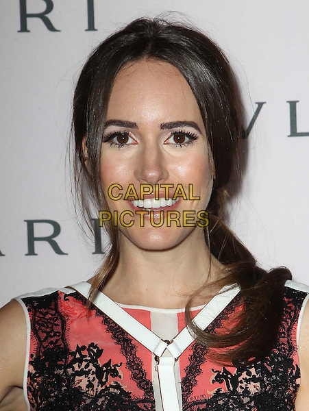 Louise Roe.BVLGARI celebrates Elizabeth Taylor's magnificent collection of BVLGARI jewelry held at the BVLGARI store, Beverly Hills, California, USA..February 19th, 2013.headshot portrait black pink red white sleeveless pattern print   lace.CAP/ADM/FS.©Faye Sadou/AdMedia/Capital Pictures.