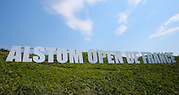 Hollywood style sign on the bare slopes down the 18th (not in the best of positions) during the preview days of the 2015 Alstom Open de France, played at Le Golf National, Saint-Quentin-En-Yvelines, Paris, France. /01/07/2015/. Picture: Golffile | David Lloyd<br /> <br /> All photos usage must carry mandatory copyright credit (&copy; Golffile | David Lloyd)