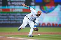 Durham Bulls third baseman Brandon Snyder (7) fields a ground ball during the game against the Buffalo Bison at Durham Bulls Athletic Park on April 25, 2018 in Allentown, Pennsylvania.  The Bison defeated the Bulls 5-2.  (Brian Westerholt/Four Seam Images)