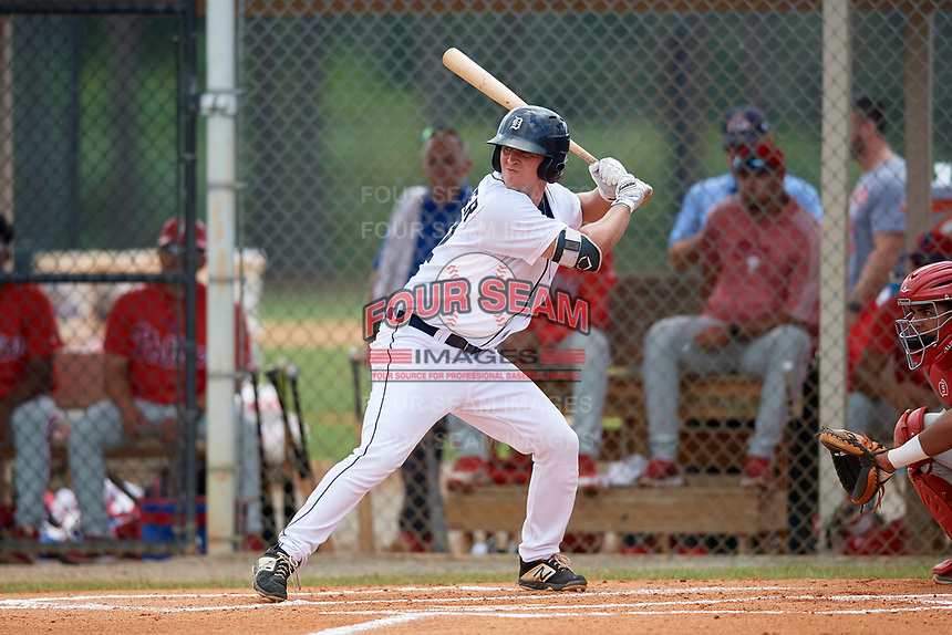 Detroit Tigers Kerry Carpenter (67) at bat during an Instructional League game against the Philadelphia Phillies on September 19, 2019 at Tigertown in Lakeland, Florida.  (Mike Janes/Four Seam Images)